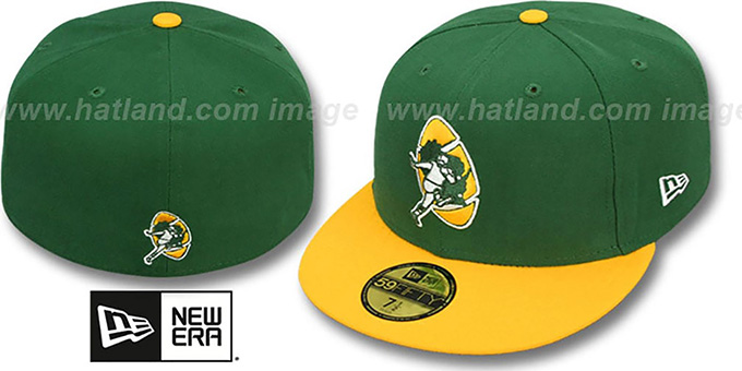 Packers 'NFL 2T THROWBACK TEAM-BASIC' Green-Gold Fitted Hat by New Era : pictured without stickers that these products are shipped with
