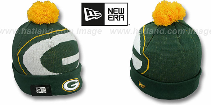 Packers 'NFL-BIGGIE' Green Knit Beanie Hat by New Era : pictured without stickers that these products are shipped with