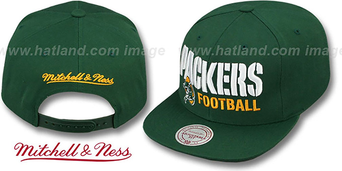 Packers 'NFL-BLOCKER SNAPBACK' Green Hat by Mitchell & Ness : pictured without stickers that these products are shipped with