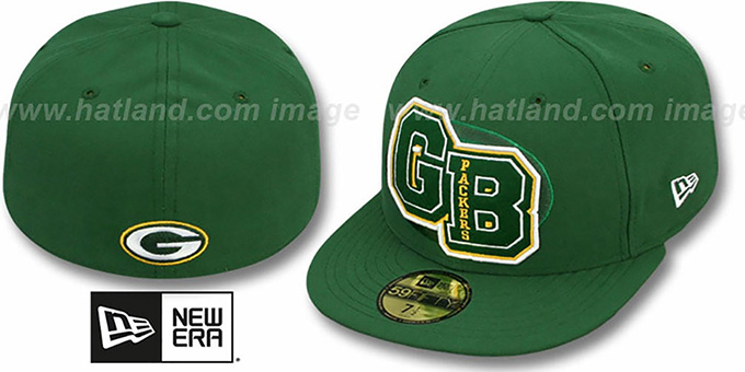 Packers 'NFL FELTN' Green Fitted Hat by New Era : pictured without stickers that these products are shipped with