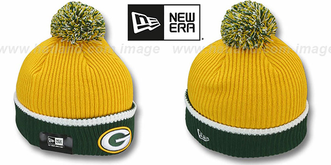 Packers 'NFL FIRESIDE' Gold-Green Knit Beanie Hat by New Era : pictured without stickers that these products are shipped with