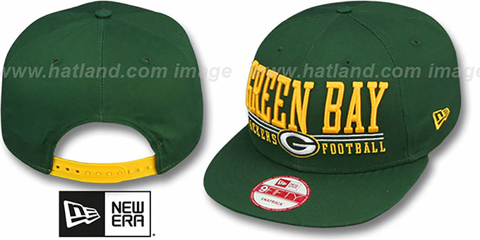 Packers 'NFL LATERAL SNAPBACK' Green Hat by New Era : pictured without stickers that these products are shipped with