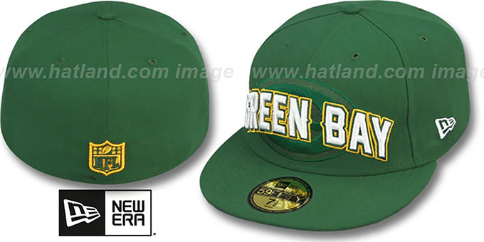 Packers 'NFL ONFIELD DRAFT' Green Fitted Hat by New Era : pictured without stickers that these products are shipped with