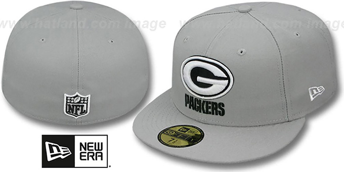 Packers 'NFL TEAM-BASIC' Grey-Black-White Fitted Hat by New Era : pictured without stickers that these products are shipped with