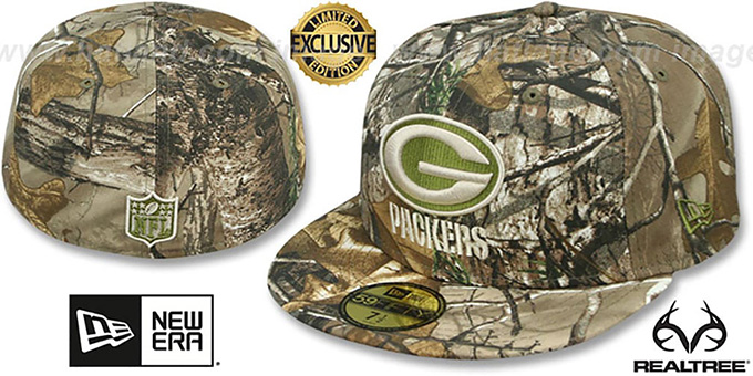Packers 'NFL TEAM-BASIC' Realtree Camo Fitted Hat by New Era : pictured without stickers that these products are shipped with