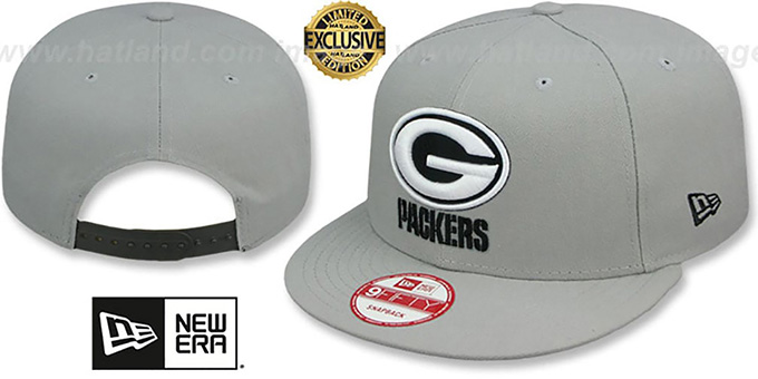 Packers 'NFL TEAM-BASIC SNAPBACK' Grey-Black Hat by New Era : pictured without stickers that these products are shipped with