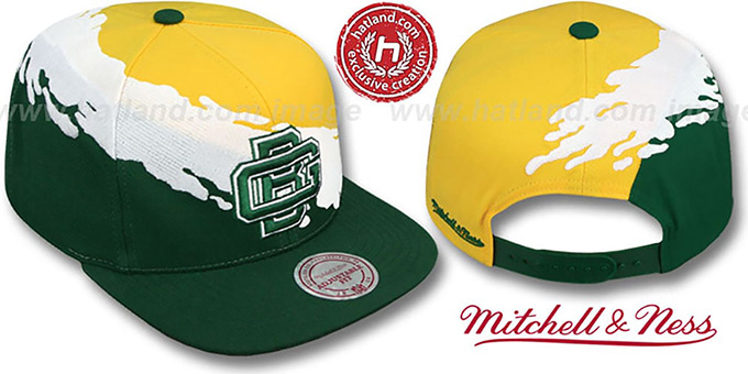 Packers 'PAINTBRUSH SNAPBACK' Gold-White-Green Hat by Mitchell & Ness : pictured without stickers that these products are shipped with