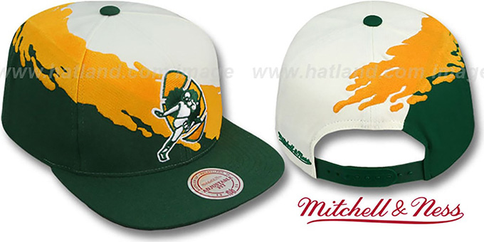 Packers 'PAINTBRUSH SNAPBACK' White-Gold-Green Hat by Mitchell & Ness : pictured without stickers that these products are shipped with