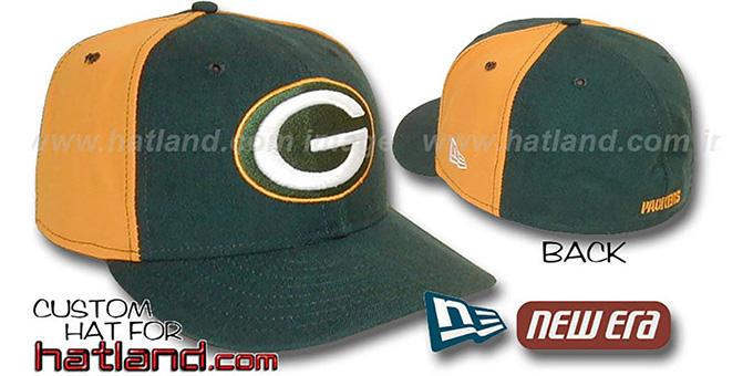 Packers 'PINWHEEL-2' Green-Gold Fitted Hat : pictured without stickers that these products are shipped with