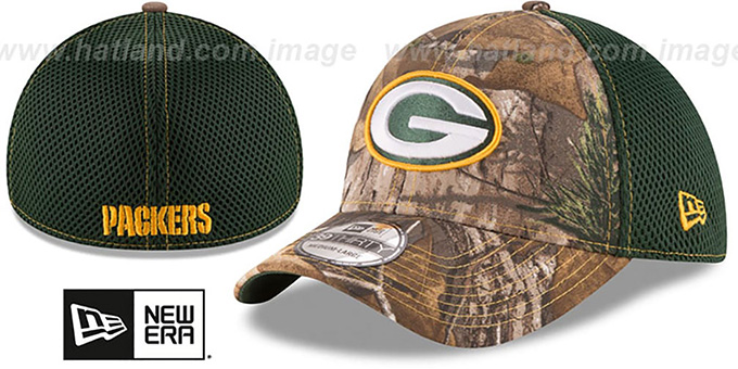 Packers 'REALTREE NEO MESH-BACK' Flex Hat by New Era : pictured without stickers that these products are shipped with