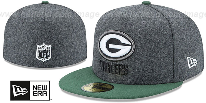 Packers 'SHADER MELTON' Grey-Green Fitted Hat by New Era : pictured without stickers that these products are shipped with