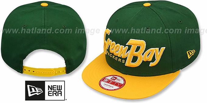 Packers 'SNAP-IT-BACK SNAPBACK' Green-Gold Hat by New Era : pictured without stickers that these products are shipped with