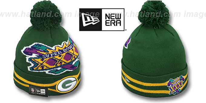 Packers 'SUPER BOWL XXXI' Green Knit Beanie Hat by New Era : pictured without stickers that these products are shipped with