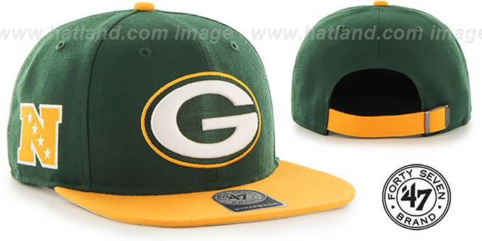 Packers 'SUPER-SHOT STRAPBACK' Green-Gold Hat by Twins 47 Brand : pictured without stickers that these products are shipped with