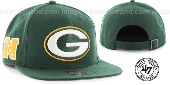Packers 'SUPER-SHOT STRAPBACK' Green Hat by Twins 47 Brand : pictured without stickers that these products are shipped with