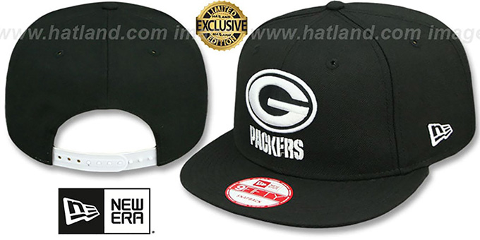 Packers 'TEAM-BASIC SNAPBACK' Black-White Hat by New Era : pictured without stickers that these products are shipped with