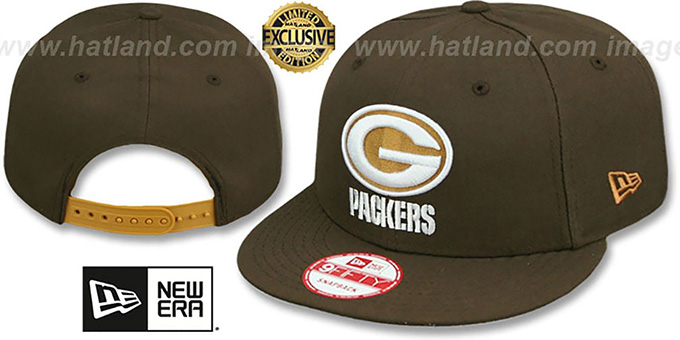 Packers 'TEAM-BASIC SNAPBACK' Brown-Wheat Hat by New Era : pictured without stickers that these products are shipped with