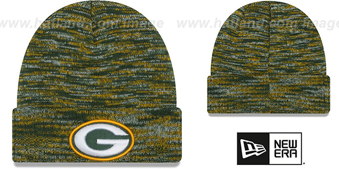 Packers 'TEAM-CRAZE' Green-Gold Knit Beanie Hat by New Era : pictured without stickers that these products are shipped with
