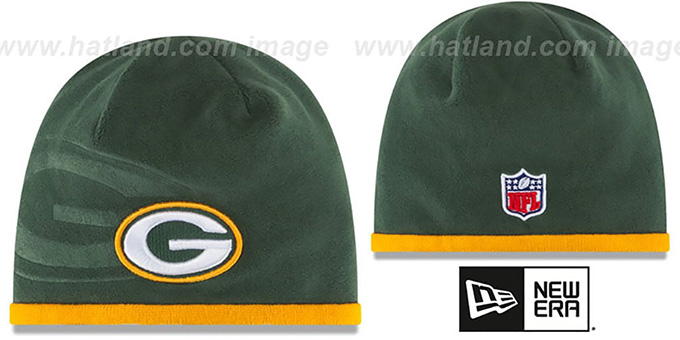 Packers 'TECH-KNIT STADIUM' Green-Gold Knit Beanie Hat by New Era : pictured without stickers that these products are shipped with