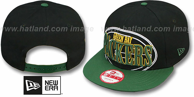 Packers 'THROUGH SNAPBACK' Black-Green Hat by New Era : pictured without stickers that these products are shipped with