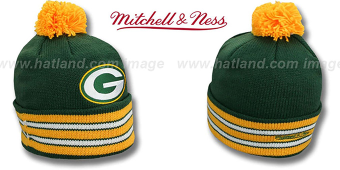 Packers 'XL-LOGO BEANIE' Green by Mitchell and Ness : pictured without stickers that these products are shipped with