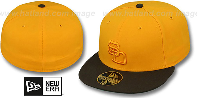 Padres '1972 ROAD FASHION' Gold-Brown Hat by New Era : pictured without stickers that these products are shipped with