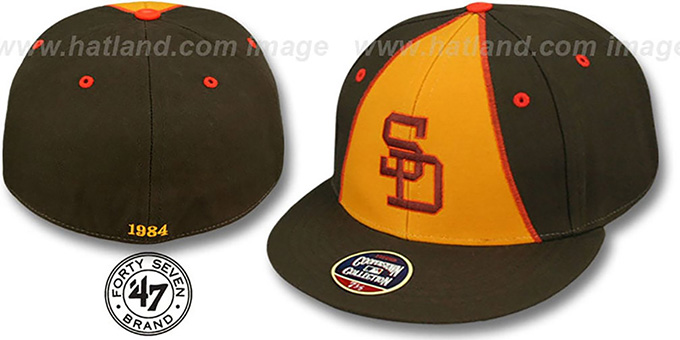 Padres '1984 COOPERSTOWN ' Fitted Hat by Twins 47 Brand : pictured without stickers that these products are shipped with