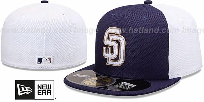 Padres '2013 DIAMOND-TECH BP' Navy-White Hat by New Era : pictured without stickers that these products are shipped with
