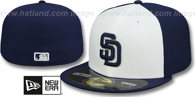 Padres '2014 DIAMOND-TECH BP' White-Navy Hat by New Era : pictured without stickers that these products are shipped with