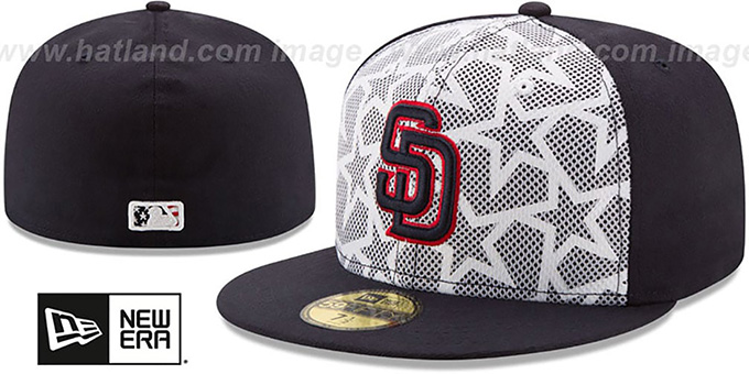 Padres '2016 JULY 4TH STARS N STRIPES' Fitted Hat by New Era : pictured without stickers that these products are shipped with