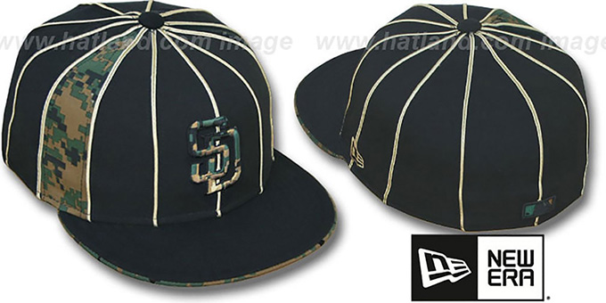 Padres 'ARMY DIGITAL SLIVER' Black Fitted Hat by New Era : pictured without stickers that these products are shipped with