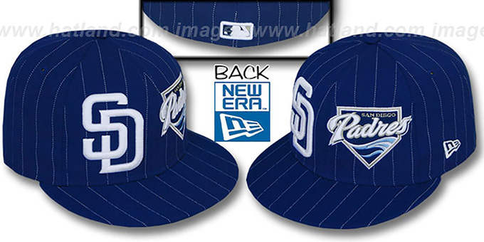 Padres 'BIG-ONE DOUBLE WHAMMY' Navy-White Fitted Hat : pictured without stickers that these products are shipped with