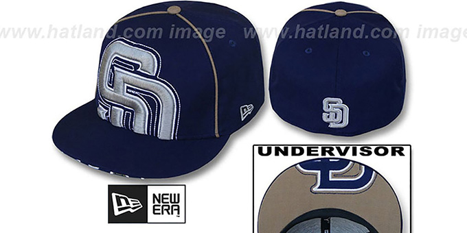 Padres 'BIG-UNDER' Navy Fitted Hat by New Era : pictured without stickers that these products are shipped with