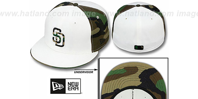 Padres 'COLOR BLOCK' White-Army Camo Fitted Hat by New Era : pictured without stickers that these products are shipped with