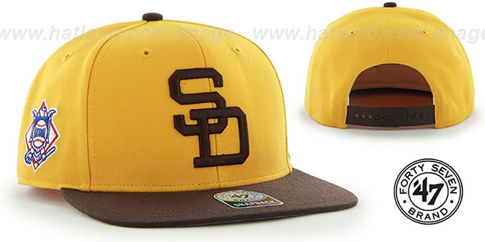 Padres COOP 'SURE-SHOT SNAPBACK' Gold-Brown Hat by Twins 47 Brand : pictured without stickers that these products are shipped with