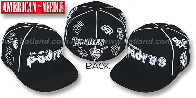 Padres 'COOPERSTOWN ALL-OVER' Black Fitted Hat by American Needle : pictured without stickers that these products are shipped with