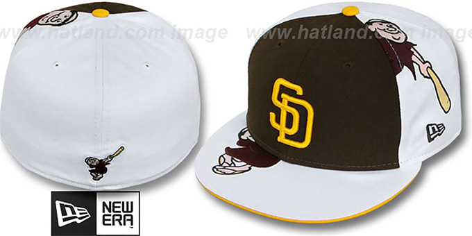 Padres 'COOPERSTOWN ORLANTIC-3' Brown-White Fitted Hat by New Era : pictured without stickers that these products are shipped with