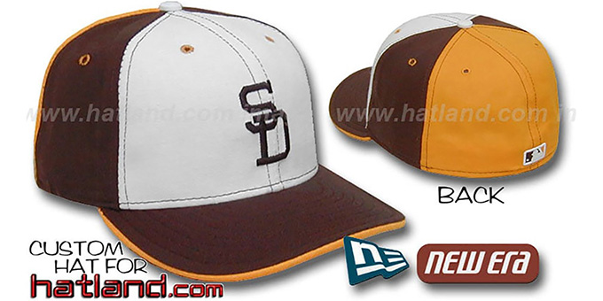 Padres COOPERSTOWN 'PINWHEEL' White-Brown-Gold Hat : pictured without stickers that these products are shipped with