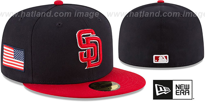 Padres 'COUNTRY COLORS' Navy-Red Fitted Hat by New Era : pictured without stickers that these products are shipped with