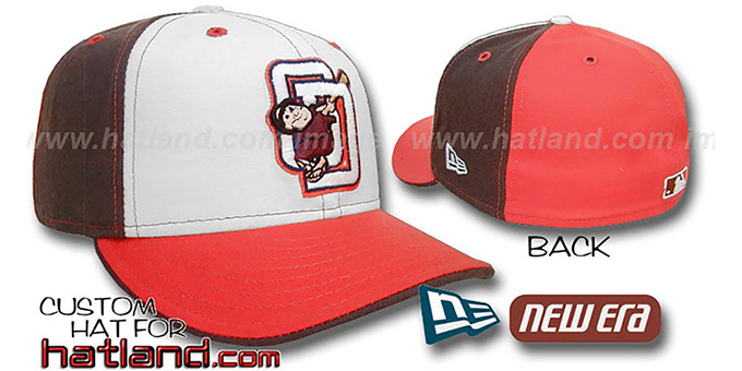 Padres 'DECEPTOR PINWHEEL' White-Brown-Orange Fitted Hat : pictured without stickers that these products are shipped with