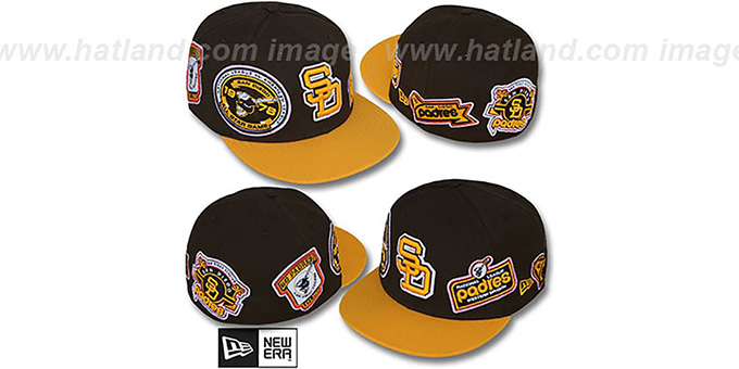 Padres 'DEEZ PATCHES' Brown-Gold Fitted Hat by New Era : pictured without stickers that these products are shipped with