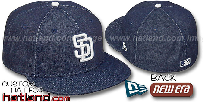 Padres 'DENIM' Fitted Hat by New Era - navy : pictured without stickers that these products are shipped with