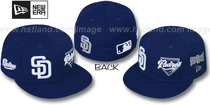 Padres 'EVOLUTION' Fitted Hat by New Era - navy : pictured without stickers that these products are shipped with