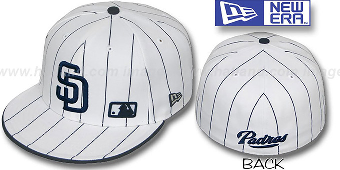 Padres 'FABULOUS' White-Navy Fitted Hat by New Era : pictured without stickers that these products are shipped with
