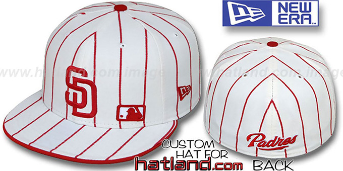 Padres 'FABULOUS' White-Red Fitted Hat by New Era : pictured without stickers that these products are shipped with