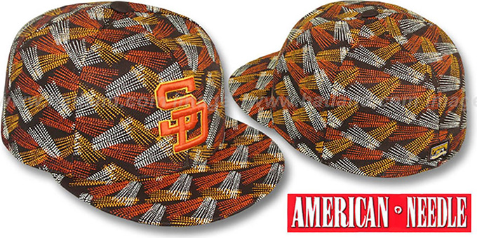 Padres 'FLICKER' Brown Fitted Hat by American Needle : pictured without stickers that these products are shipped with