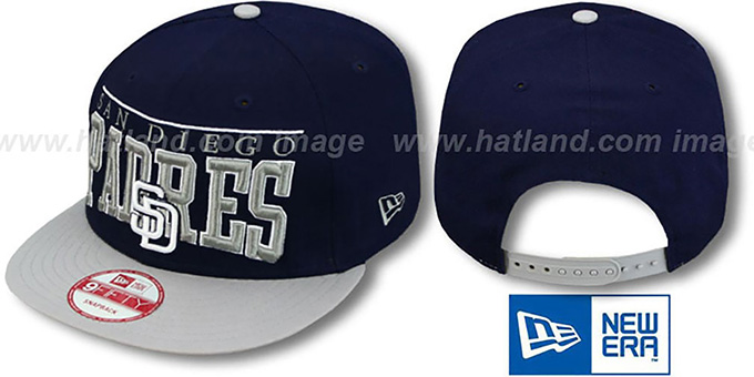 Padres 'LE-ARCH SNAPBACK' Navy-Grey Hat by New Era : pictured without stickers that these products are shipped with