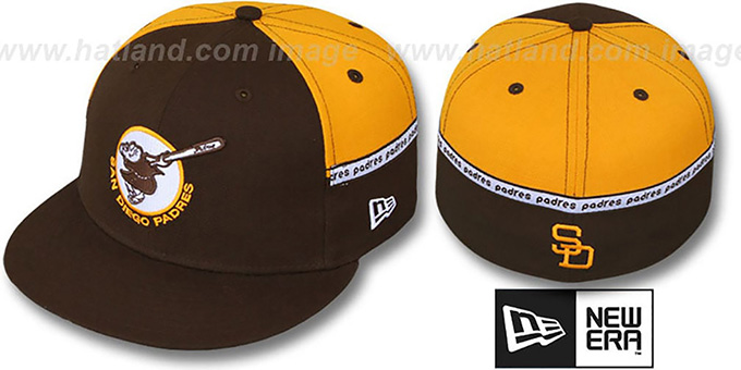 Padres 'MID-TAPE' Brown-Gold Fitted Hat by New Era : pictured without stickers that these products are shipped with