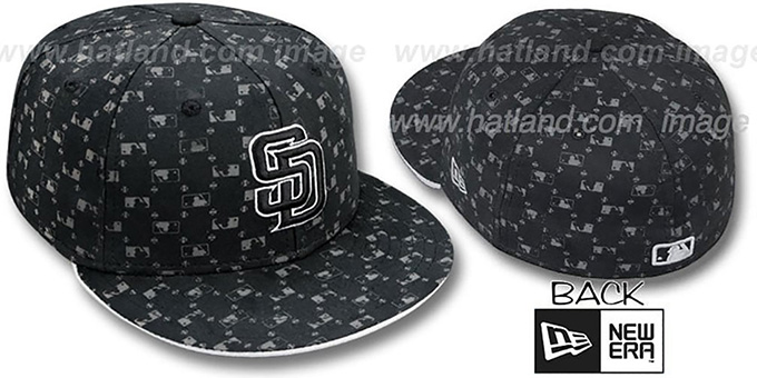 Padres 'MLB FLOCKING' Black Fitted Hat by New Era : pictured without stickers that these products are shipped with