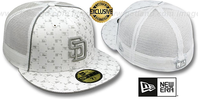 Padres 'MLB FLOCKING' MESH-BACK White Fitted Hat by New Era : pictured without stickers that these products are shipped with